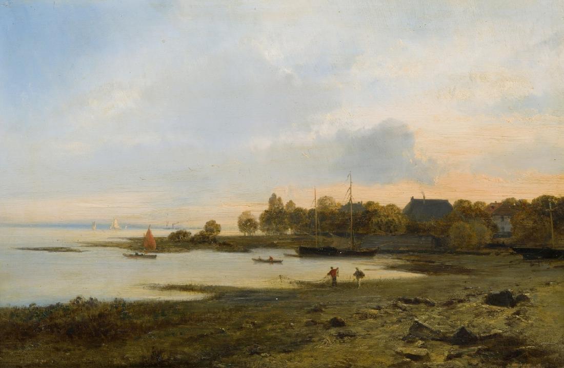 Anonym, 19.Jh. Küstenlandschaft mit Fischerbooten. Öl