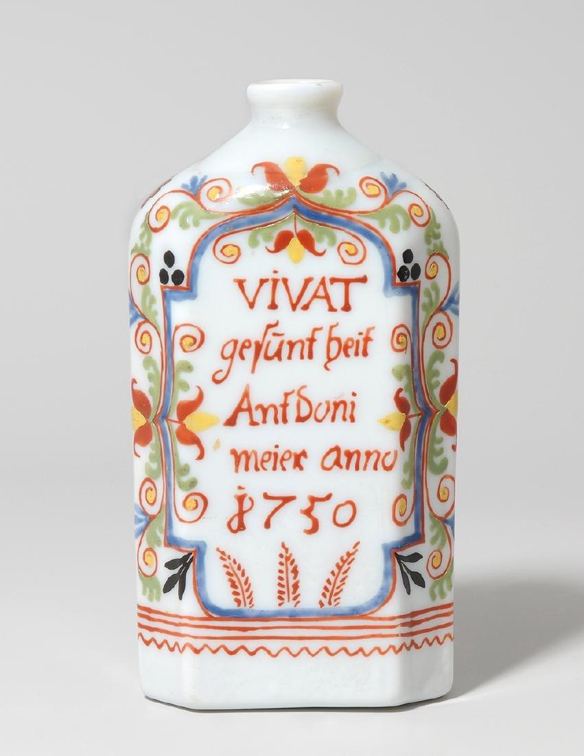 Schnapsflasche, alpenländisch Dat. 1750. Milchglas, auf