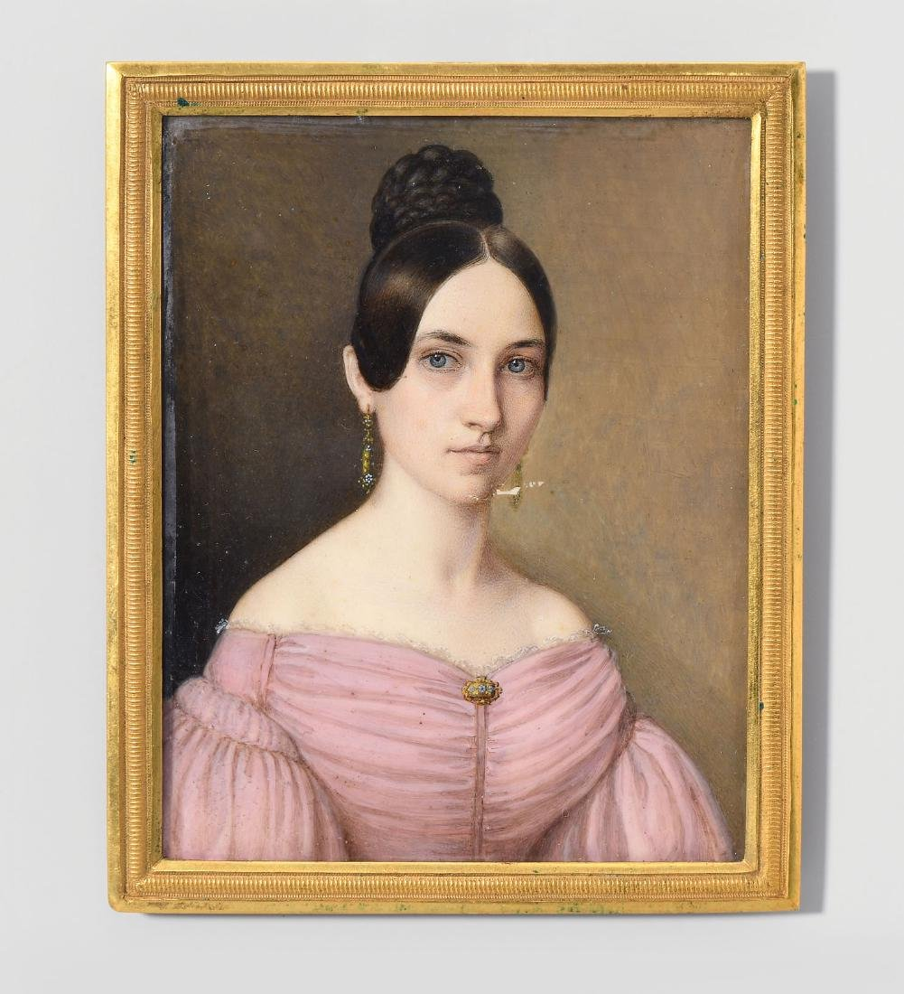 Damenporträt 19.Jh. Gouache auf Elfenbein, rechteckig.