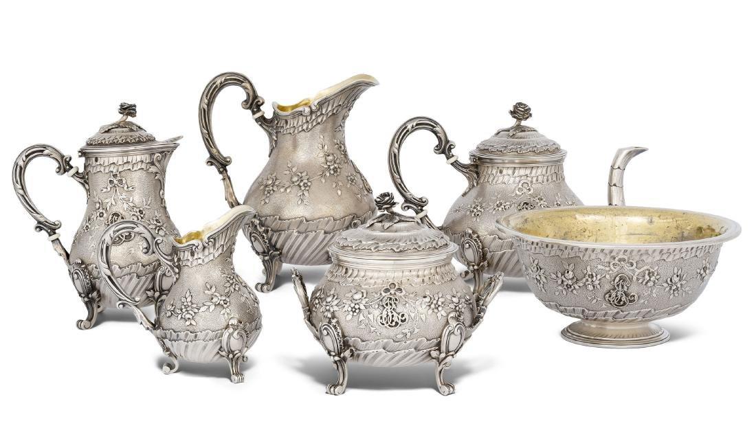 Kaffee-/Teeservice  Paris, 1875–91. Silber, 6-teilig.