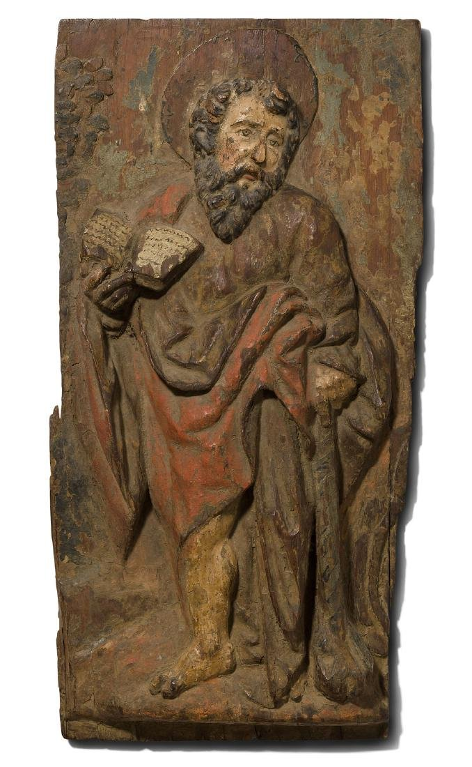 Apostel-Relief Spanien, um 1700. Holz geschnitzt und