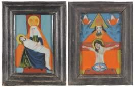 Lot: 2 kleine Hinterglasbilder Böhmen, Buchers, 1.