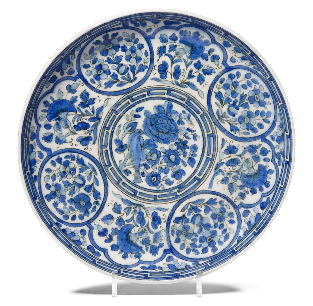 Qajar Platte Persisch, 19.Jh. Frittenware.