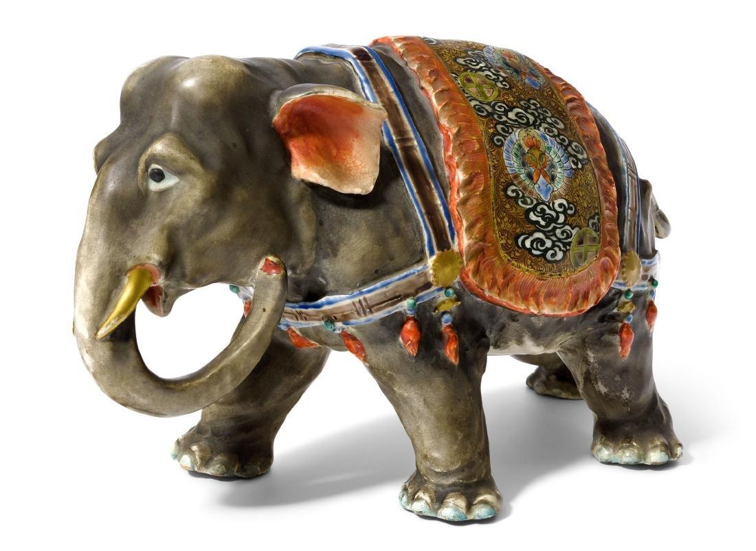 Elefantenfigur Japan, Anfang 20.Jh. Satsuma-Keramik.