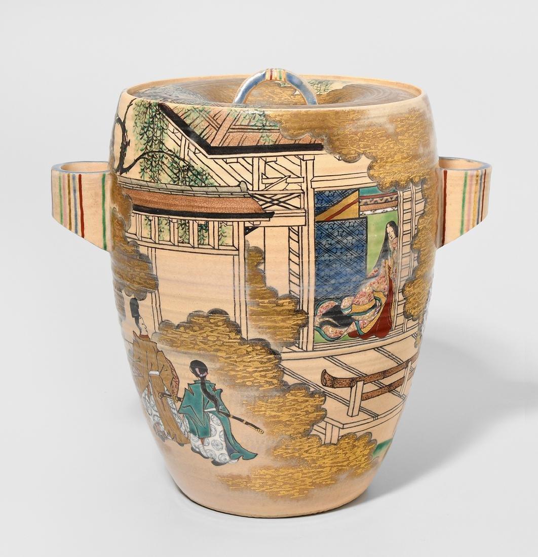Mizusashi Japan, 20.Jh. Kyoto Satsuma oder Kutani.