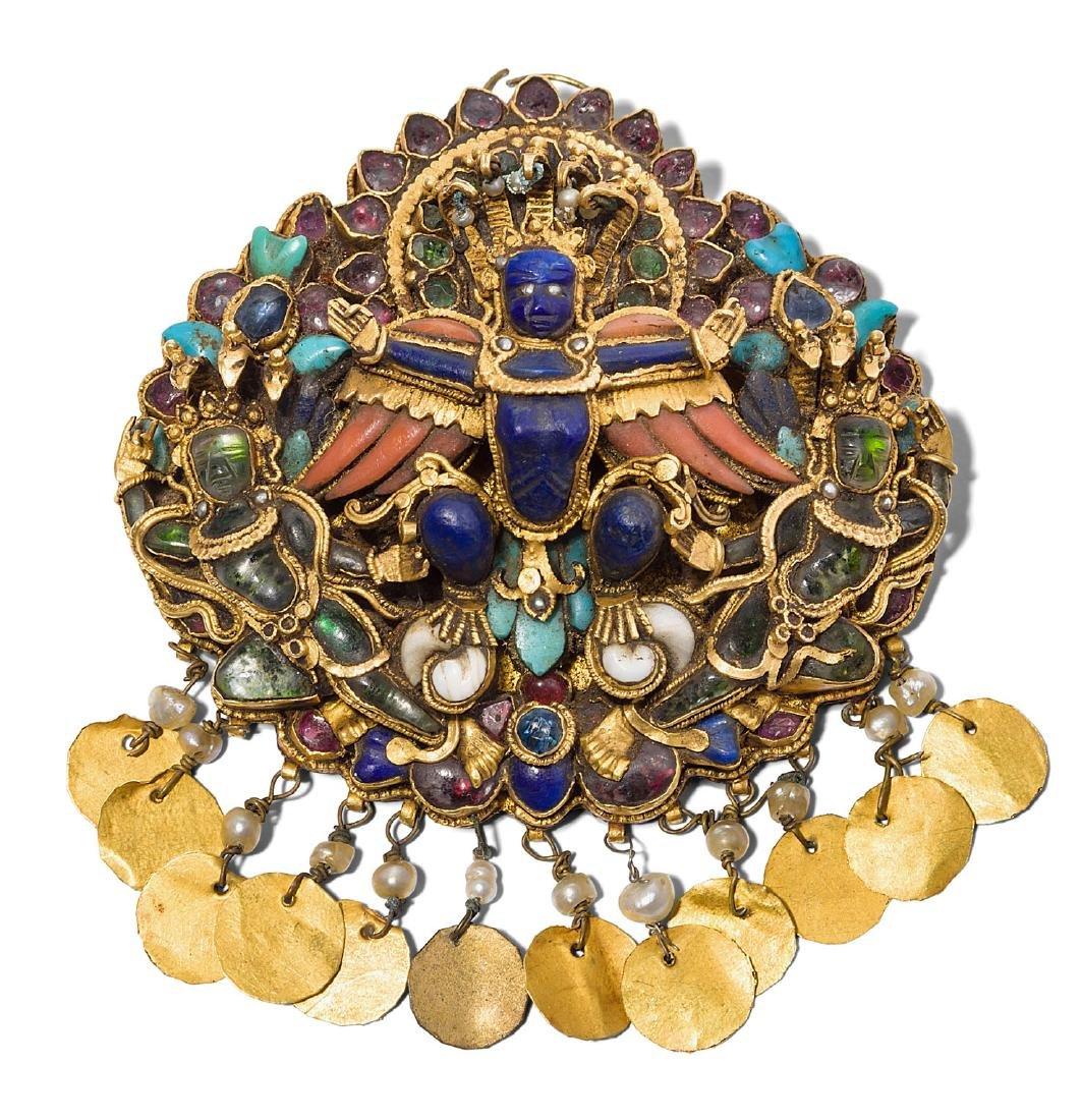 Anhänger oder Bindia Nepal, 1.Hälfte 19.Jh. Gold