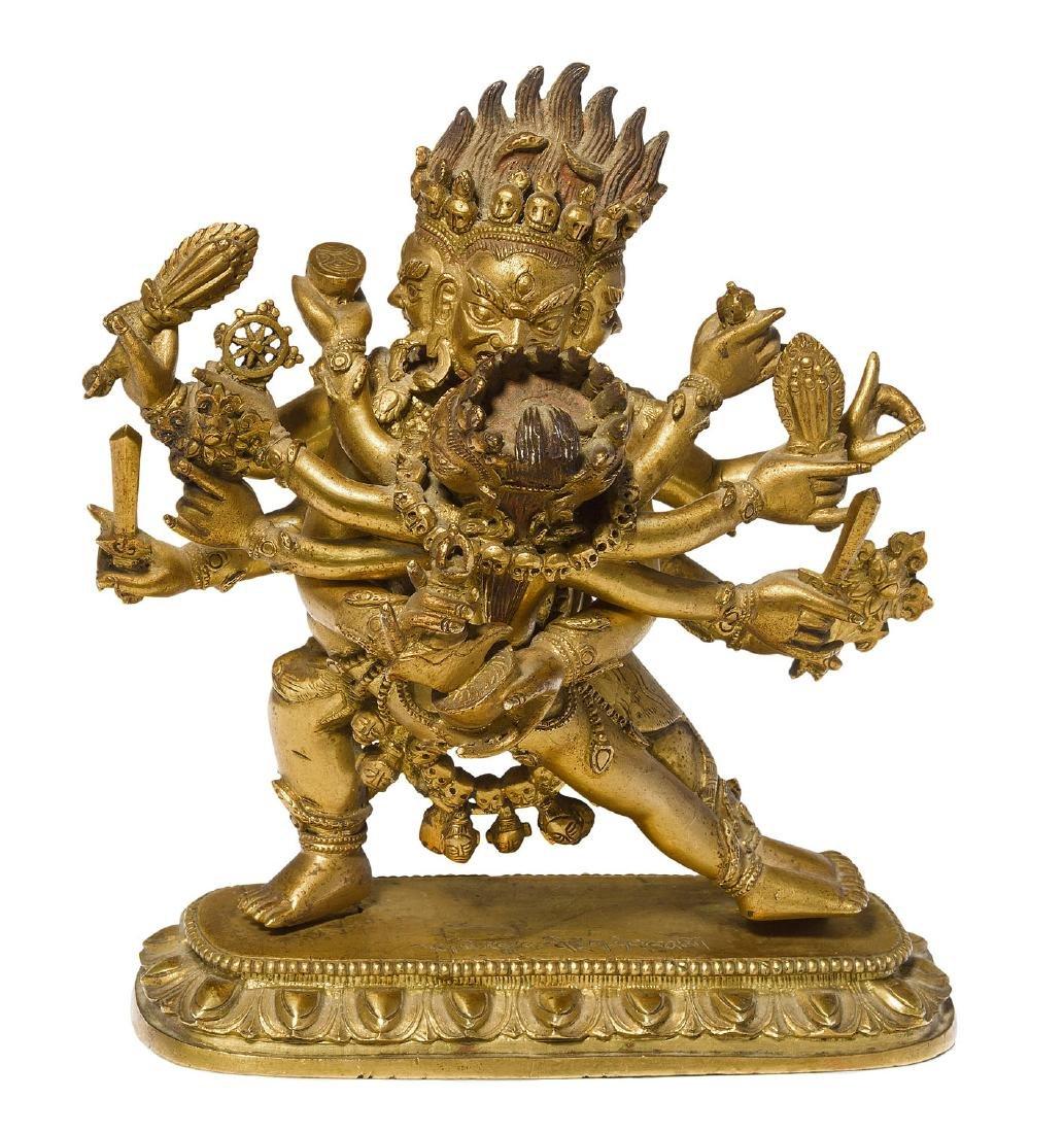 Mahakala in Yab-Yum Tibet. Feuervergoldete Bronze. Der