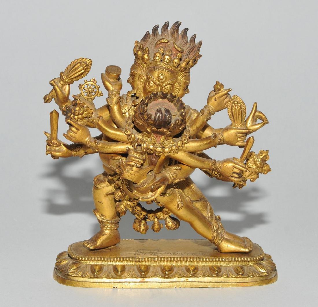 Mahakala in Yab-Yum Tibet. Feuervergoldete Bronze. Der - 2