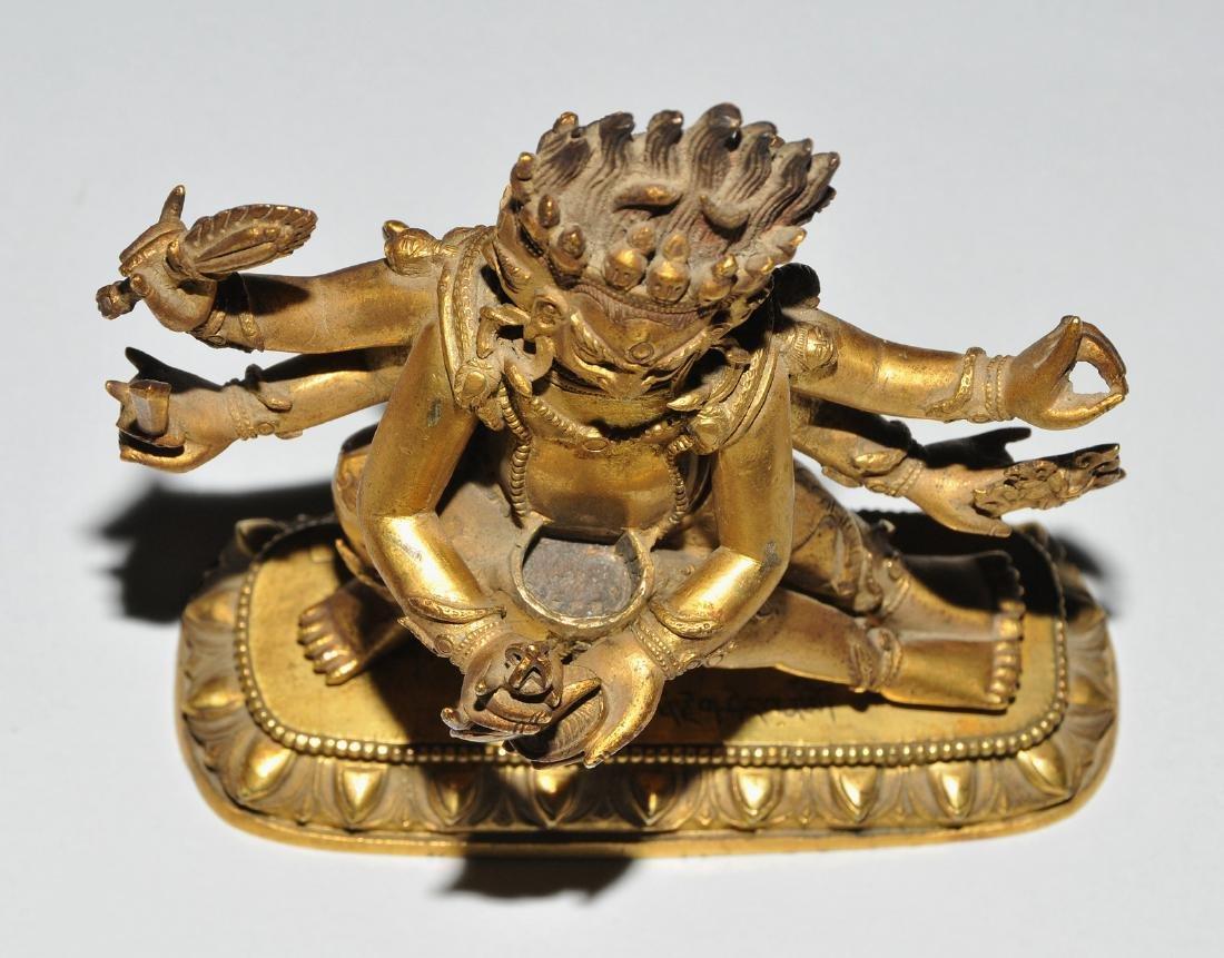 Mahakala in Yab-Yum Tibet. Feuervergoldete Bronze. Der - 7