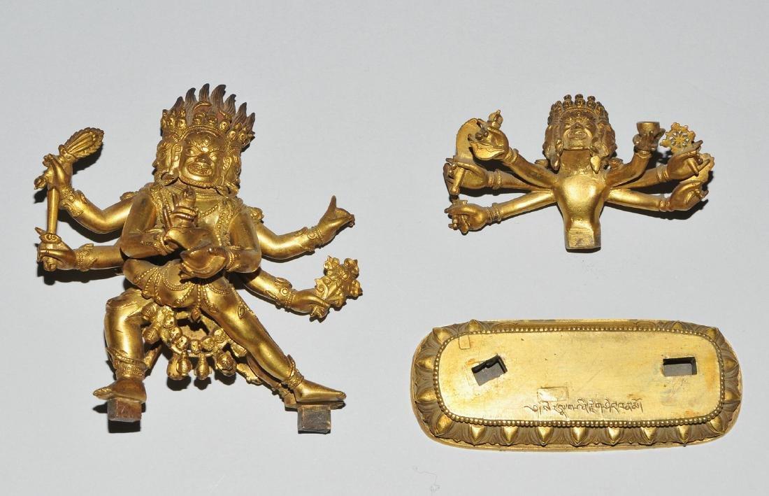 Mahakala in Yab-Yum Tibet. Feuervergoldete Bronze. Der - 9