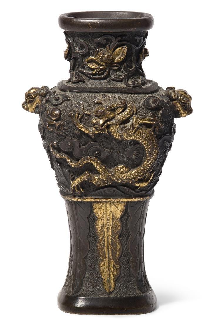 Kleine Henkelvase China, Qing-Dynastie. Bronze,