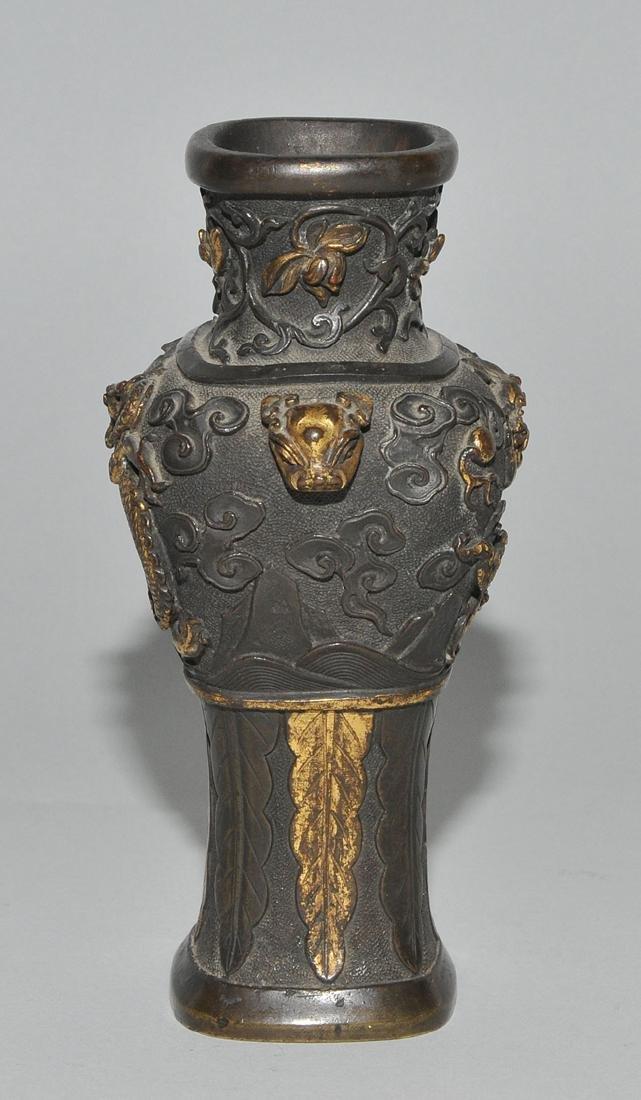 Kleine Henkelvase China, Qing-Dynastie. Bronze, - 3