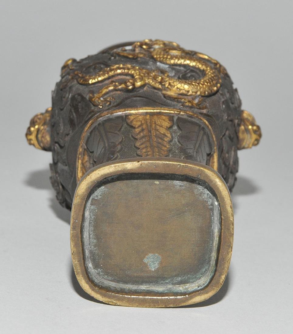 Kleine Henkelvase China, Qing-Dynastie. Bronze, - 7