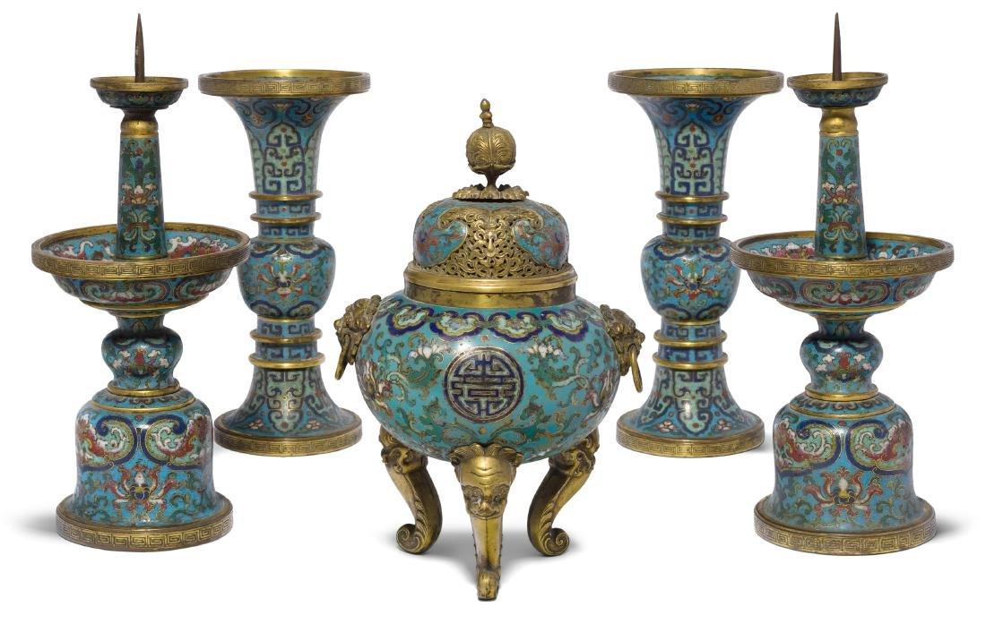 Fünfteilige Altargarnitur China, späte Qing-Dynastie.