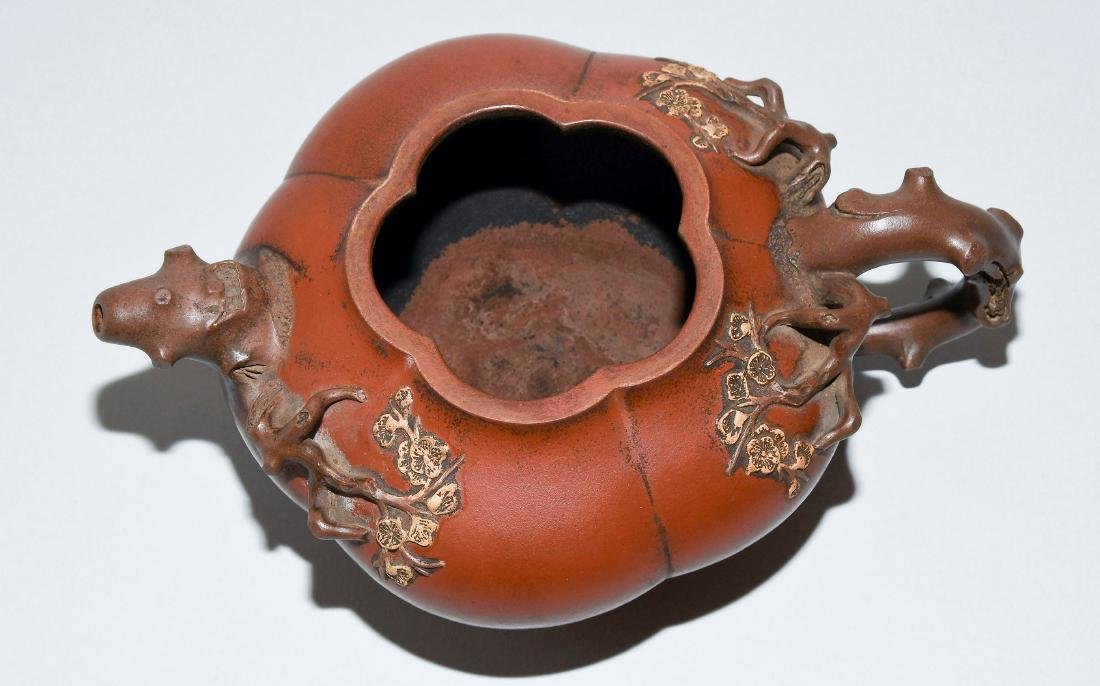 Teekanne China. Yixing-Keramik. Blütenform. Tülle und - 6