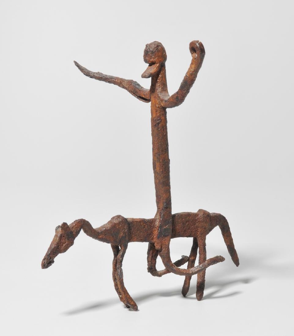 Reiterfigur Dogon. Mali. Eisen. Abstrakte Figur mit