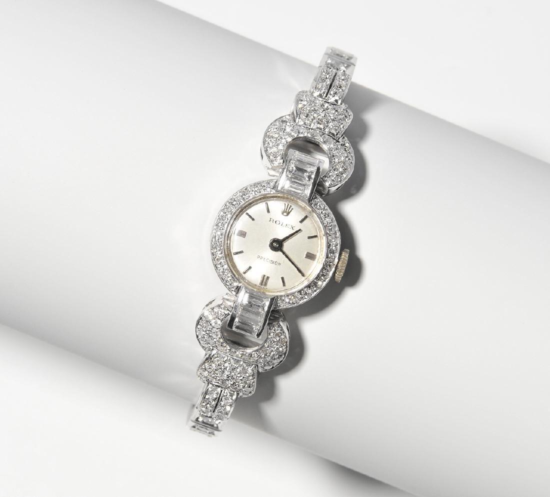 Rolex-Diamant-Damenarmbanduhr Spätes Art Déco. Gehäuse