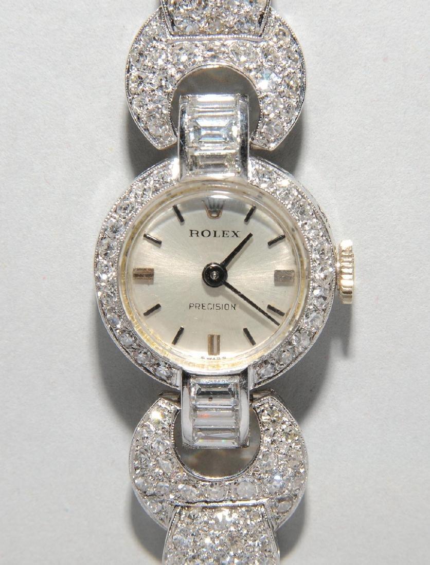 Rolex-Diamant-Damenarmbanduhr Spätes Art Déco. Gehäuse - 4