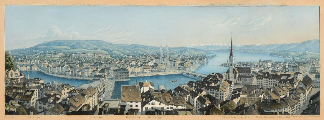 """Dikenmann, Johann Rudolf (1832 Zürich 1888) """"Panorama"""