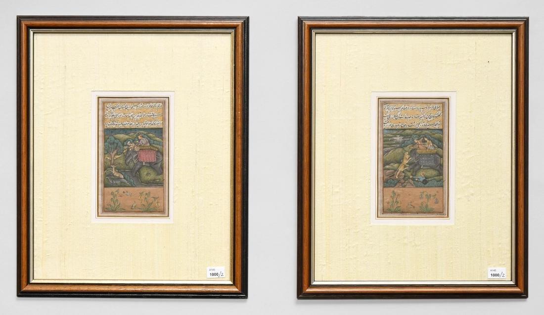 Lot: 2 Miniaturmalereien Indien. Deckfarbe auf Papier.