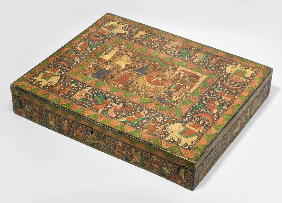 Grosse Schatulle Indien, 19.Jh. Holz, polychrom bemalt.