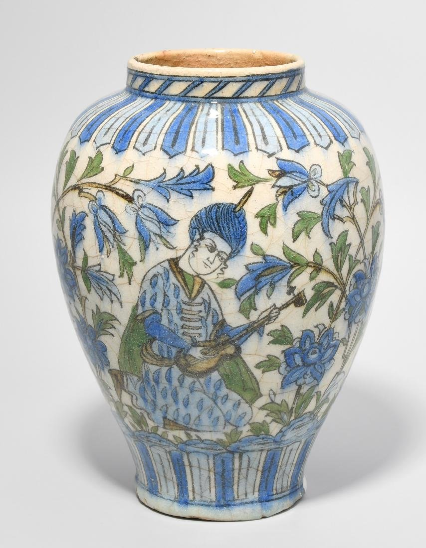 Vase Persisch, 19.Jh. Qajar. Weissgrauer Scherben mit
