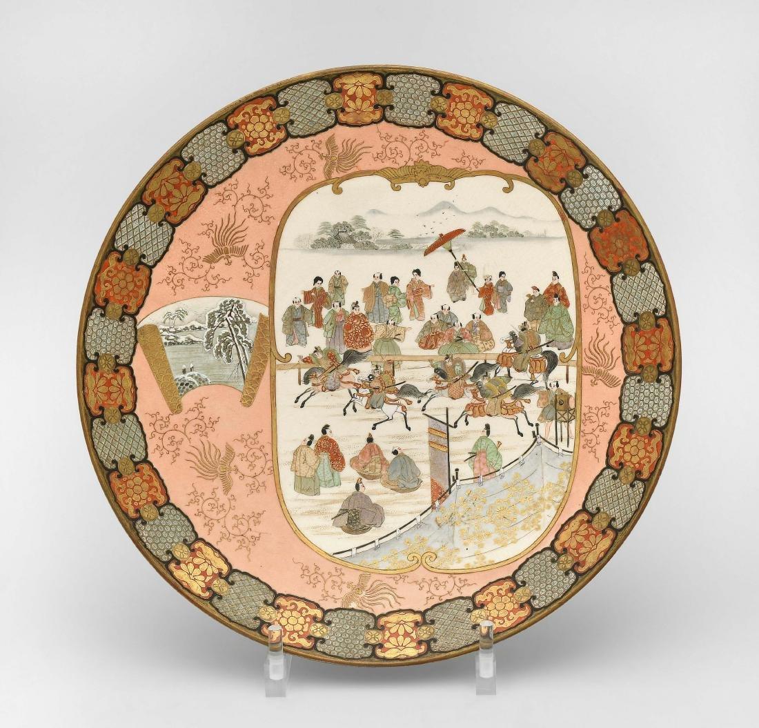 Platte Japan, um 1900. Kutani. Darstellung aus