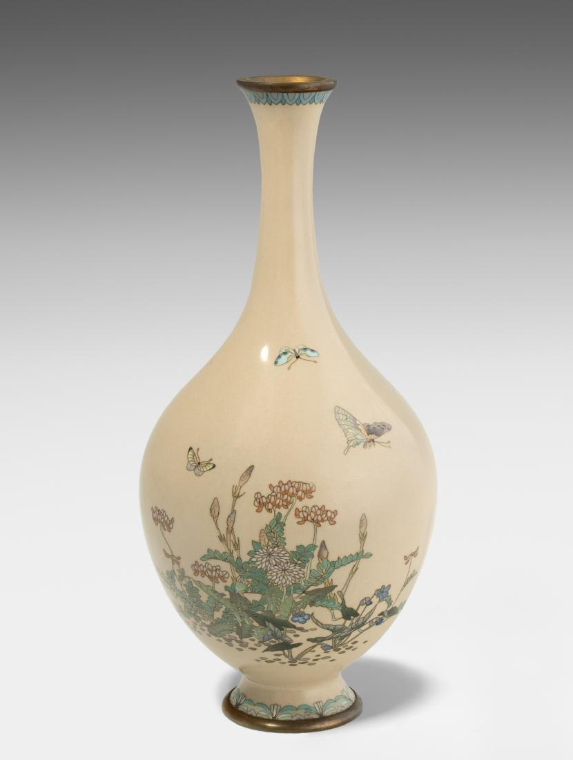 Vase Japan, 20.Jh. Kyoto-Schule. Email Cloisonné.