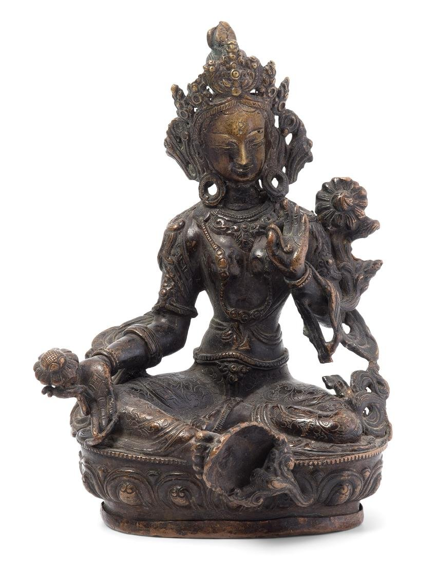 Grüne Tara Tibet/Nepal, 19.Jh. Bronze. Die gekrönte und