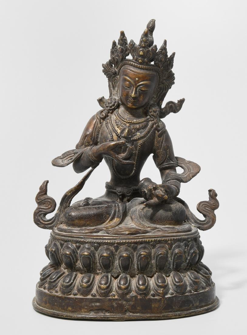 Vajrasattva Tibet/Nepal, 19.Jh. Bronze mit Resten einer