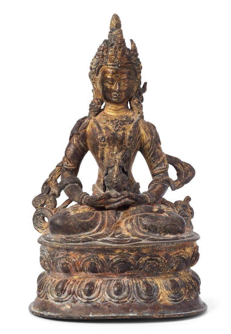 Amitayus Tibetochinesisch, 19.Jh. Bronze mit Resten