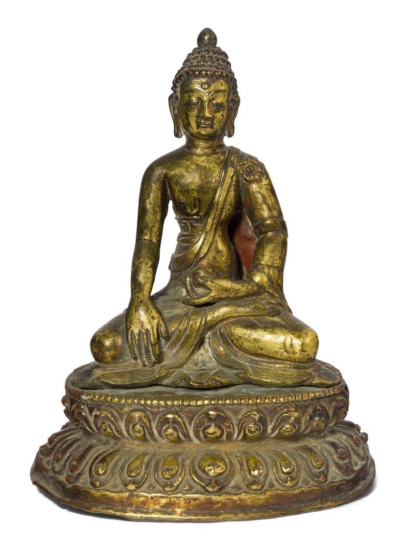 Buddha Shakyamuni Tibet. Feuervergoldete Bronze. Auf