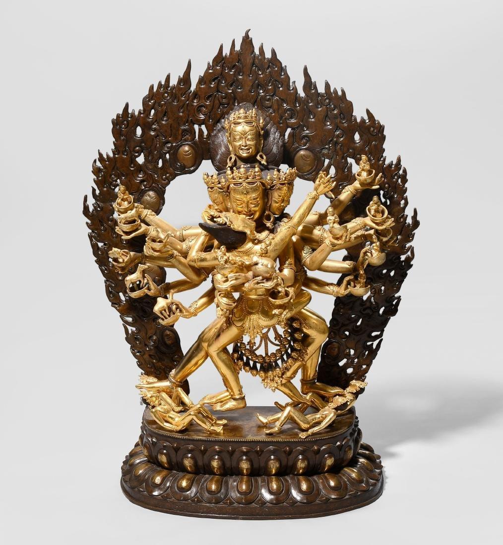 Grosser Yi-Dam Hevajra Nepal, 20.Jh. Bronze, teilweise