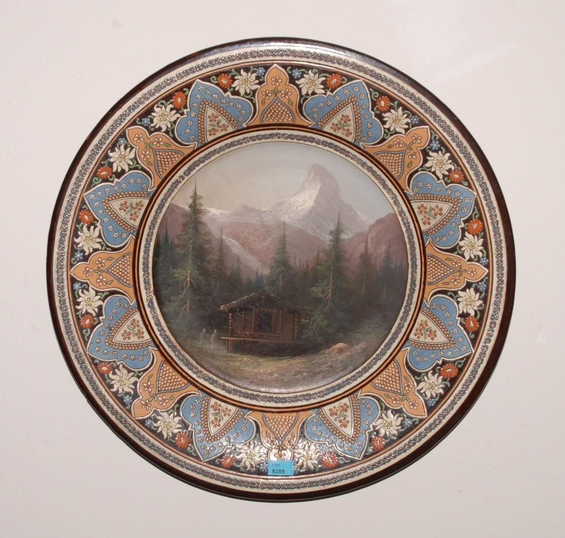 Zierteller Thuner Majolika, Ende 19.Jh. Keramik,