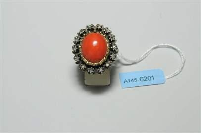 Korallen-Diamant-Ring Anfang 20.Jh. Silber vergoldet. 1