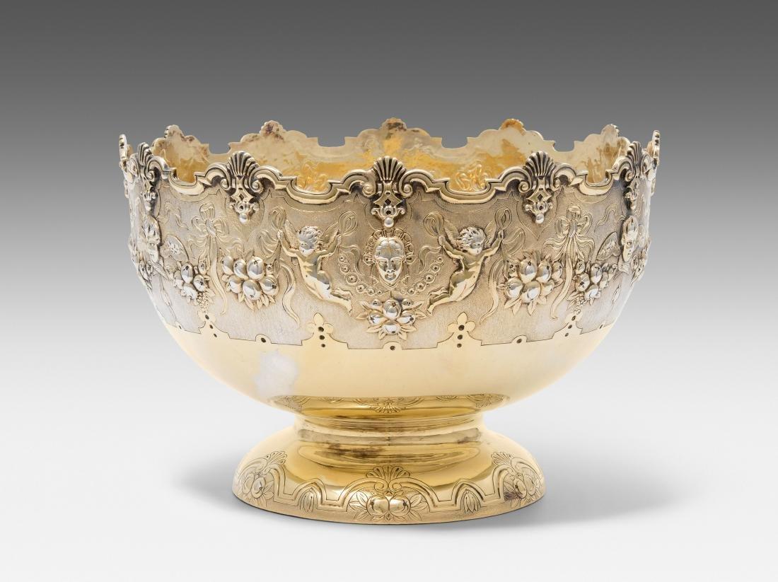 Bowlenschale London, 1903. Silber, vergoldet.
