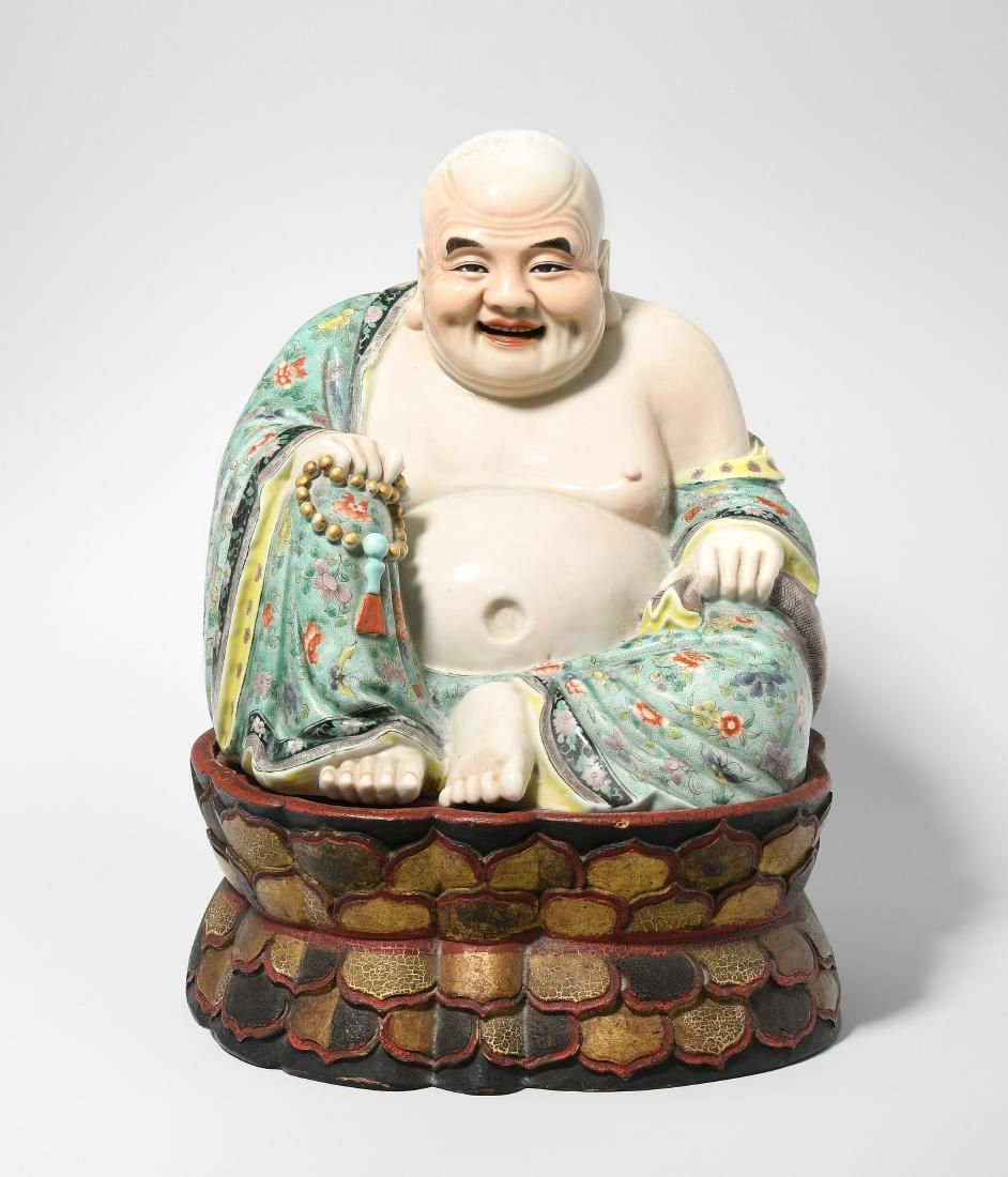 Budai China, 20.Jh. Porzellan. Fröhlich lachender Budai