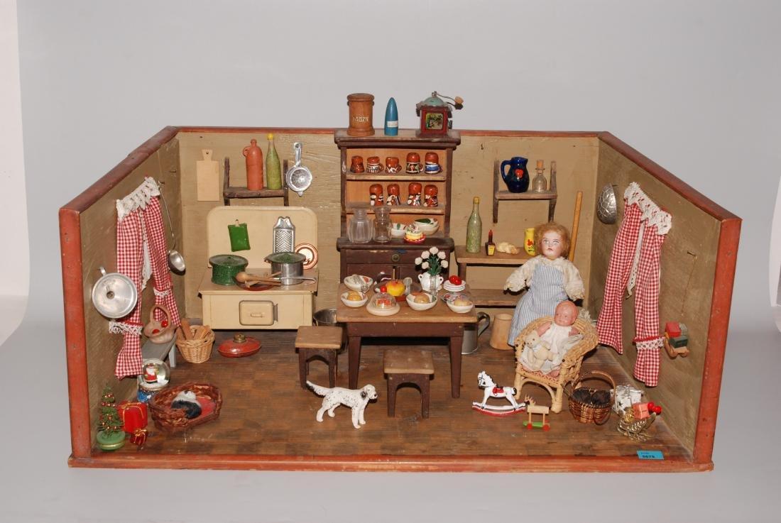 Puppenküche 1.Hälfte 20.Jh. Holzgehäuse mit