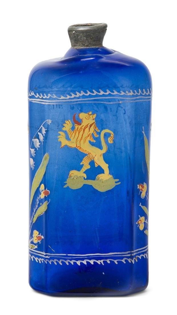 Schnapsflasche, alpenländisch Datiert 1725. Blaues