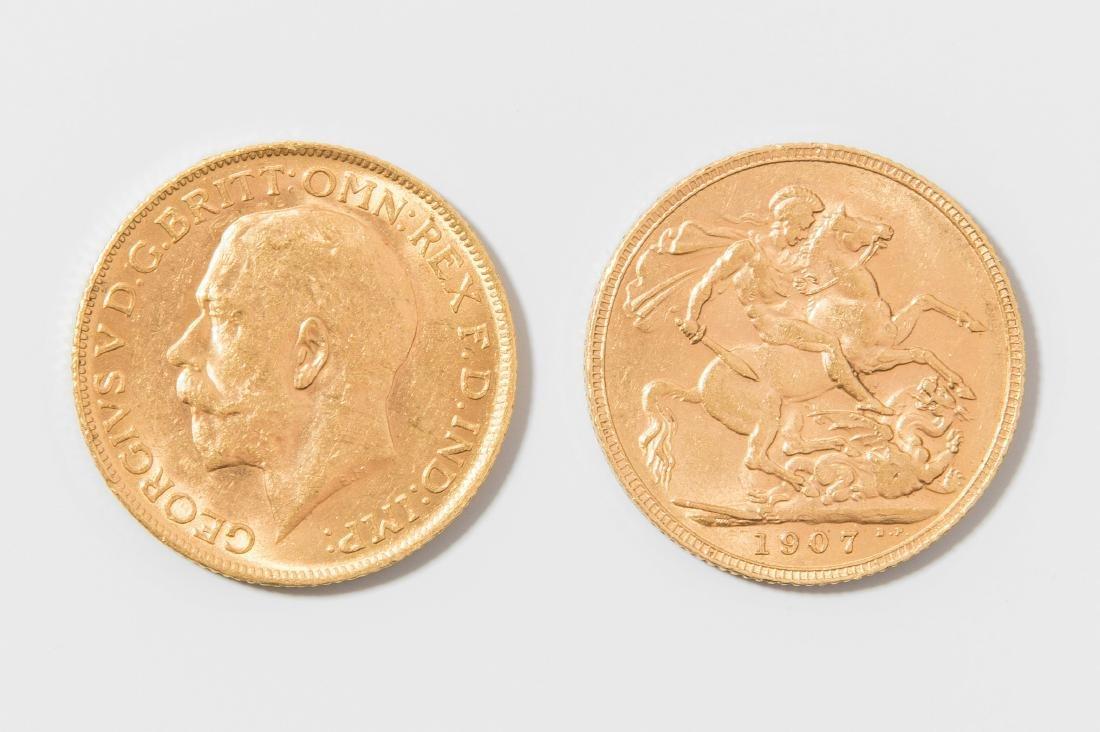 Zwei Sovereign Je 1 Pfund Münze Grossbritanien 1907 On Liveauctioneers