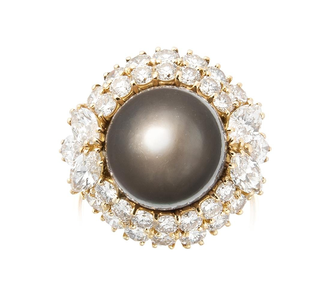 Harry Winston Tahitiperl-Diamant-Ring New York, 1980er