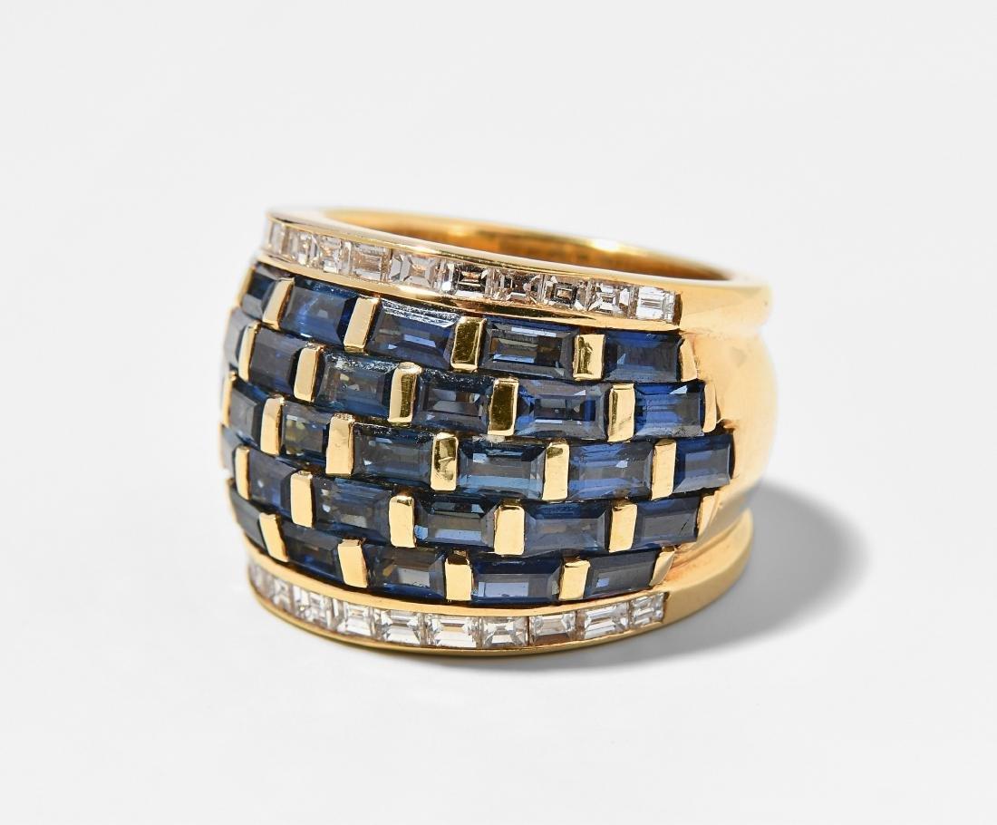 Saphir-Diamant-Ring 750 Gelbgold. Bandring mit 5 Linien