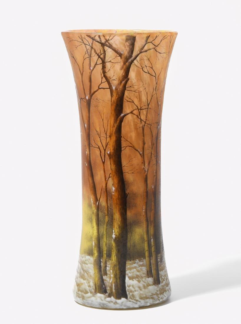 Vase, Daum Um 1900. Nancy. Farbloses Glas mit gelben