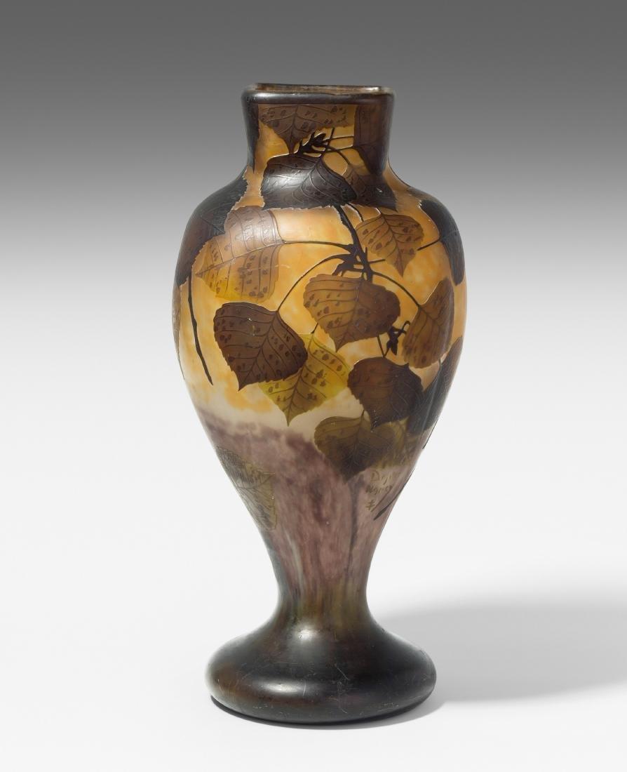 Vase, Daum Um 1910. Nancy. Farbloses Glas mit
