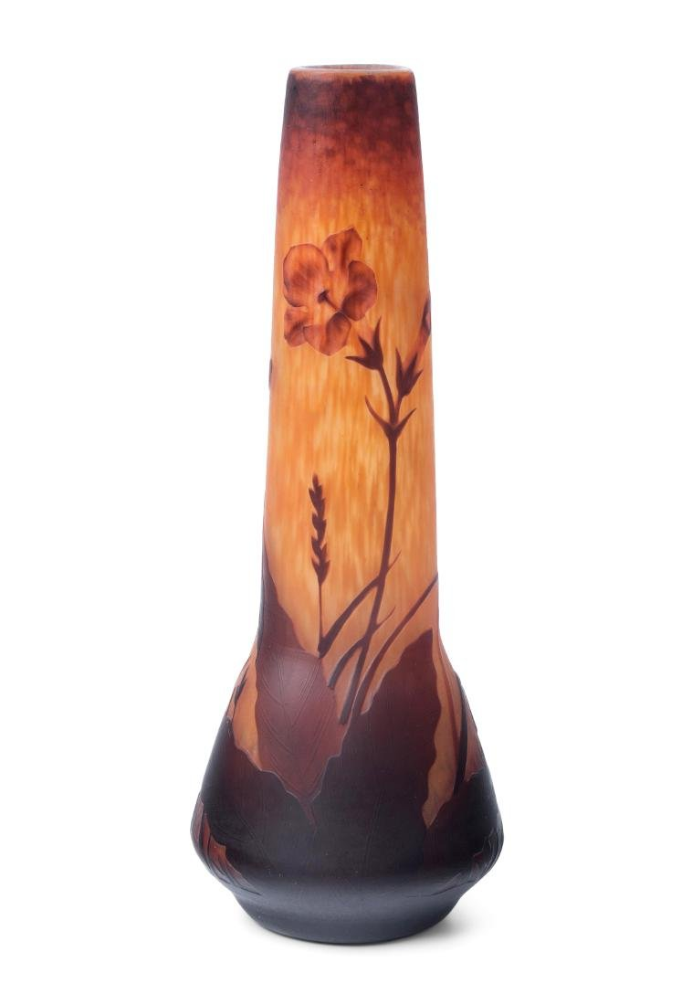 Vase, Daum Um 1900. Nancy. Farbloses Glas mit