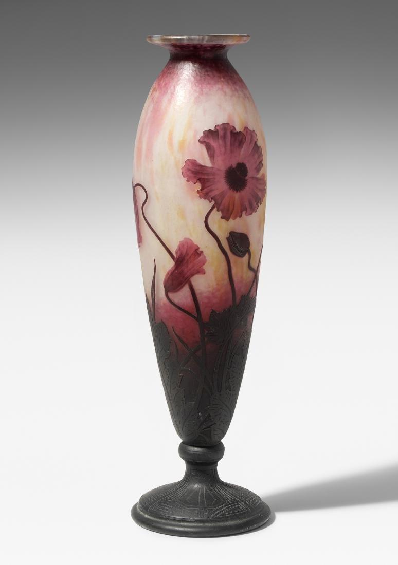 Grosse Vase, Daum Um 1905. Nancy. Farbloses Glas mit