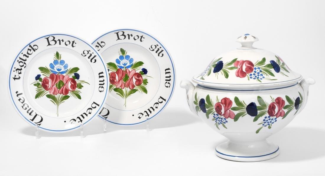 Geschirr, Ryburg/CH. Angang 20.Jh. Steingut, floraler