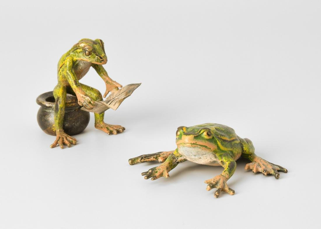 Tierfiguren: 2 Frösche Wiener Bronze, 20.Jh. Ziseliert