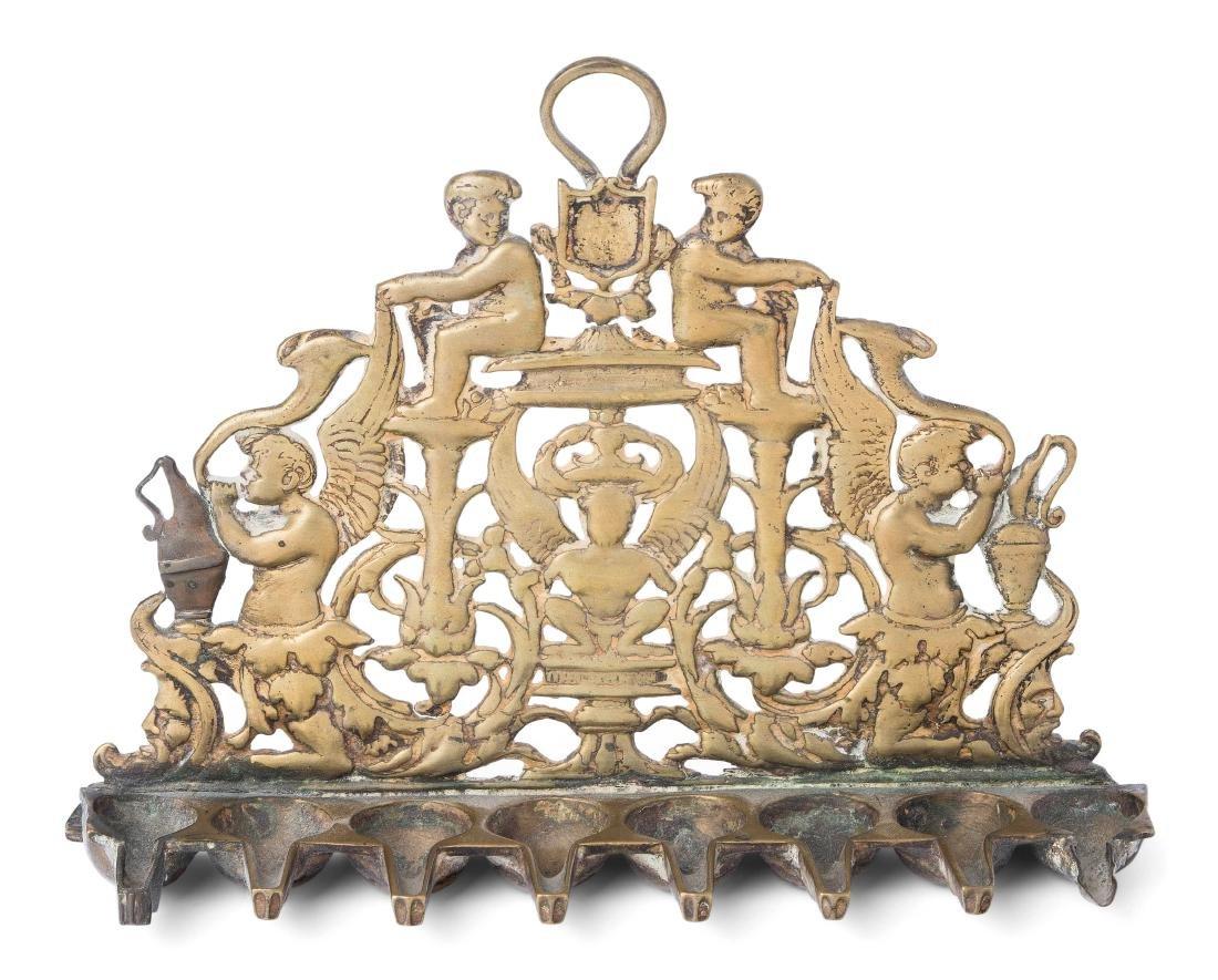 Chanukkaleuchter Italien, 19.Jh. Bronze. Bankartiger