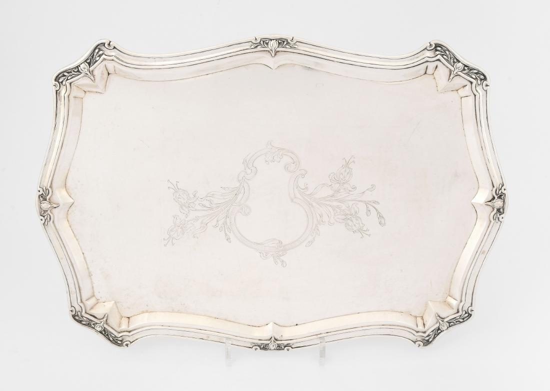 Tablett Schaffhausen, um 1900. Silber. Herstellermarke